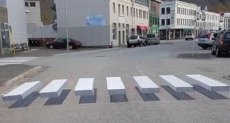 Strisce pedonali a illusione ottica: anche l'Islanda testa la segnaletica stradale 3D