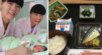 Una donna partorisce in Giappone e ci mostra cosa le hanno dato da mangiare in ospedale