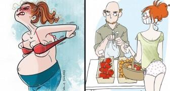 Un'illustratrice racconta con delle vignette comiche tutta la realtà del divenire mamma