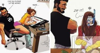 Deze illustrator laat in komische strips zijn leven als koppel met zijn vrouw zien