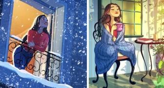 Deze 16 illustraties tonen het gelukkige leven van wie ervoor koos om alleen te leven en er heel gelukkig mee is