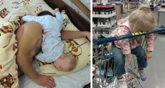 20 niños que fueron sorprendidos por el sueño en la posicion mas increibles