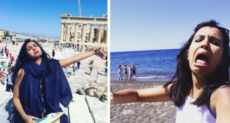 Va in viaggio di nozze da sola dopo che negano il visto al marito: i selfie che si scatta sono il top