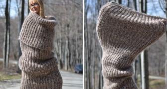Der letzte Schrei: Riesige Schals, die als Kleidung getragen werden