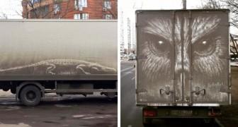 Questo artista di strada crea magnifici disegni sulle macchine sporche che trova in città
