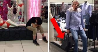 15 immagini di uomini che hanno commesso l'errore di andare a fare shopping con le loro compagne