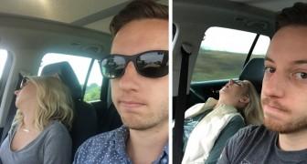 Dieser Mann hat für jede spaßige autofahrt mit seiner Frau ein Foto geschossen.