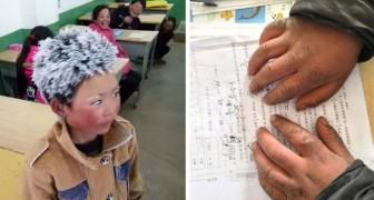 Vijf kilometer te voet afleggen in de vrieskou om naar school te gaan: de foto van deze jongen schokte de wereld