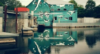 Il bellissimo murale capovolto che si può ammirare solo dal suo riflesso sull'acqua