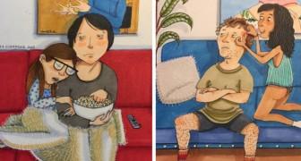 Was passiert bei einem verliebten Paar zuhause? Diese süßen Cartoons zeigen es