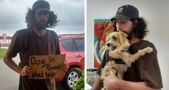 They took away his dog but a stranger reads his cardboard sign and decides to intervene
