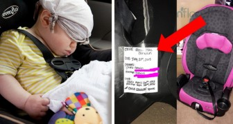To facilitate identification in case of an accident, this mom wrote some useful details on her baby's car seat