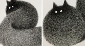 Een Maleisische kunstenaar gebruikt alleen fineliners om deze harige katten te maken. Het resultaat mag er wezen
