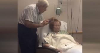 Il figlio assiste ad un toccante momento di devozione tra i suoi anziani genitori: la scena vi riempirà il cuore di amore