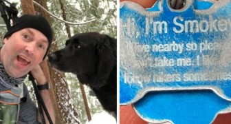 Two hikers find a dog in the forest and then they read the message on its dog collar tag!