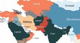 Questa mappa mostra qual è il prodotto più ricercato su Google in ogni paese del mondo