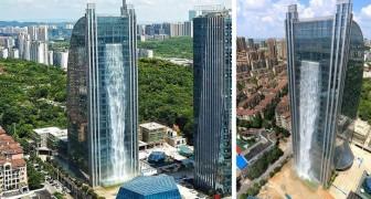 Uit deze wolkenkrabber in China komt een waterval, maar toeristen verbleken bij wat het kost om hem ingeschakeld te houden