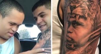 Il se tatoue le visage de son petit frère atteint du syndrome de Down : quand il le voit, c'est de l'émotion à l'état pur.