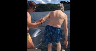 A 102-year-old great-grandfather surprises his family by diving as if he were half his age