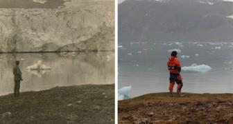 Un fotografo ricrea alcuni scatti del Circolo Polare Artico di 100 anni prima: il confronto è allarmante