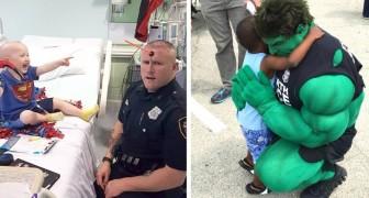 Nel tempo libero questo poliziotto si maschera da supereroe per far sorridere i bambini malati