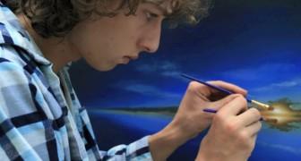 Den här pojken har förvånat tusentals människor genom att måla vackra bilder med två händer