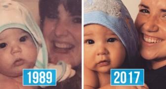 Foto's uit gezinnen met elkaar vergeleken: de gelijkenis tussen ouder en kind is onwerkelijk
