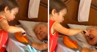 Pojken hjälper sin gamla morfar att äta... och videon berör tusentals personer!