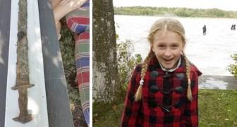 Ein 8-jähriges Mädchen findet ein Schwert vor der Wikingerzeit in einem schwedischen See