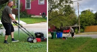 Um homem corta a grama da casa da ex-mulher: quando os filhos perguntam por que ele faz isso, a resposta os comove