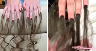 In Russland startet ein Kosmetiksalon eine neue Mode: Nägel mit Haarverlängerungen.