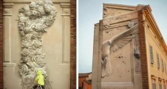 Dem italienischen Künstler gelingt es, wunderbare Wandmalereien zu schaffen, die wie Basreliefs aussehen.