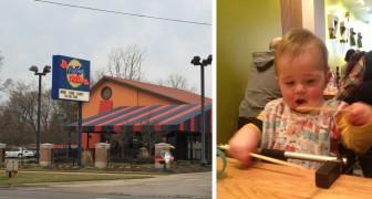 Een vrouw vraagt om een maaltijd mee te nemen omdat haar dochter vervelend doet; de serveerster antwoord met een Nee