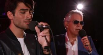 Andrea Bocelli en zijn zoon Matteo ontroeren de wereld door samen een heel beroemd lied te zingen... Geweldig!
