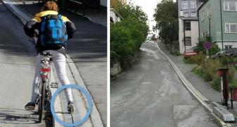In Noorwegen is een hulp geïnstalleerd voor fietsers die steile hellingen op moeten fietsen