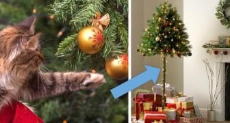 Eine Englische Firma verkauft halbe Weihnachtsbäume für Menschen mit frechen Tieren im Haus
