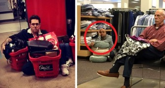 20 photos hilarantes de maris forcés d'attendre leur femme pendant leurs séances shopping