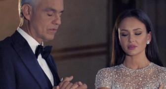Bocelli en duo en una iglesia vacia con una cantante de voz maravillosa...el espectaculo es unico