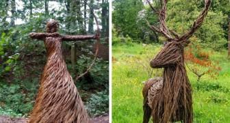 L'artiste qui crée d'incroyables sculptures grandeur nature en entrelaçant des branches de saule