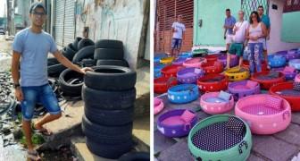 Deze jonge Braziliaan transformeert oude banden in manden voor honden en katten: hij helpt het milieu op een creatieve manier