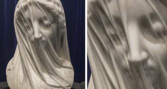 La Vergine Velata (La Vierge voilée) : l'œuvre où le marbre acquiert une légèreté extraordinaire, créée par un sculpteur italien