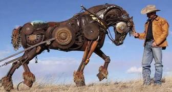 Questo artista americano trasforma vecchi attrezzi agricoli in incredibili sculture realistiche