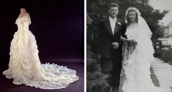 Deze vrouw creëerde haar bruidsjurk met behulp van de parachute die het leven van haar man redde