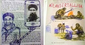 12 ongelooflijke tekeningen gemaakt door verveelde studenten op de pagina's van schoolboeken