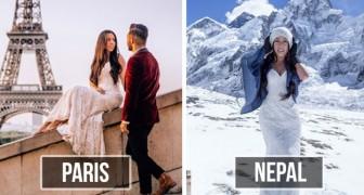 In den Flitterwochen besuchen sie in 10 Monaten 33 Länder: An jedem Halt trägt die Braut das gleiche Kleid wie zur Hochzeit