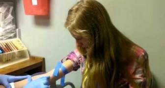 Young girl afraid of needles