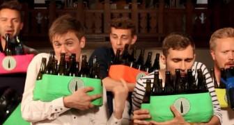 5 jongens spelen een perfecte melodie van Billie Jean van Michael Jackson met bierflesjes