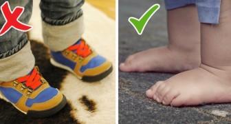 Esta cosa le ocurre a un niño cuando está con los pies descalzos