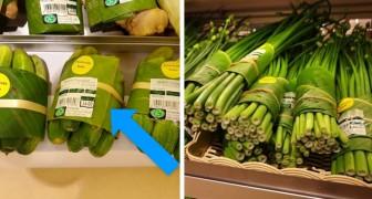 Questo supermercato tailandese ha avvolto i cibi nelle foglie di banano per ridurre il consumo di plastica