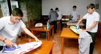 Questa scuola ha introdotto l'ora di attività domestiche: i ragazzi imparano a stirare, lavare e cucinare